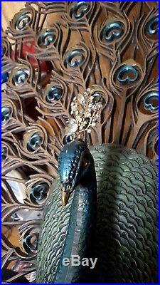 Vintage Burwood Jeweled Peacock Wall Hanging mid Century Modern retro art 33x30