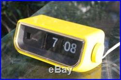 Vintage COPAL 225 Flip Clock Retro Illuminated Clock, 70's Yellow Space Age Chic