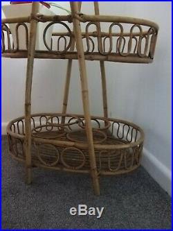 Vintage Cane Bentwood Bamboo Rattan Mid Century Boho Bohemian Shelves Tiki 70s