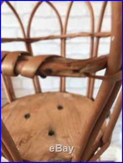 Vintage Cane Plant Stand Tiki Boho Holder Bamboo Wicker Retro Mid Century