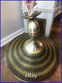 Vintage Ceiling Light Mid-Century Atomic Retro Brass Blown Glass Hanging UFO