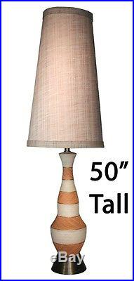 Vintage Ceramic 50 Table Lamp Tall Drum Linen Shade MID Century Modern Retro