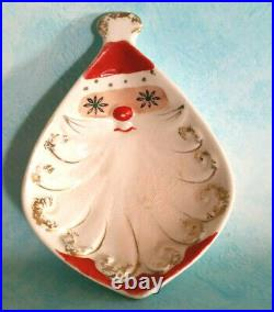 Vintage Christmas Holt Howard Starry Eyed Santa Nut Dish Set Of 3 Nesting RARE