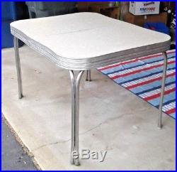 Vintage Chrome Kitchen Table Mid Century Modern 1950s Retro w Draw White