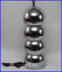 Vintage Chrome Stacked Balls Table Lamp Bubbles Orbs Mid Century Modern Retro