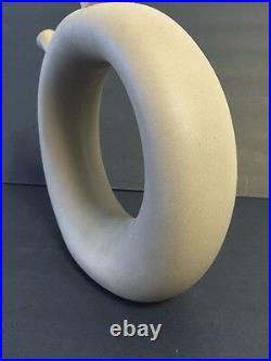 Vintage Circular Wine Decanter Mid Century Modern Retro Art Pottery Ceramic