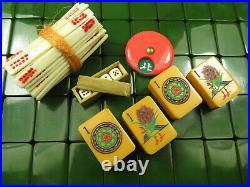 Vintage Crackled Butterscotch Catalin Wafer Back Bakelite Mahjong Mah Jongg Set