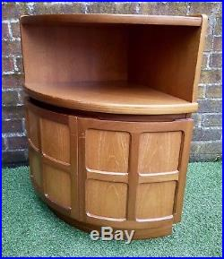 Vintage Curved Bow Teak Nathan Corner Cupboard Unit Retro Mid Century 60s