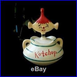 Vintage DAVAR KETCHUP PIXIE Jar Condiment Canister for retro 1950s Kitchen