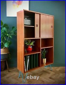 Vintage Danish Bookcase Teak Shelving Display cabinet Hairpin legs Mid Century