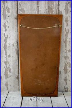 Vintage Danish Mid Century Teak Wood Framed Atomic Wall Bathroom Hall Mirror