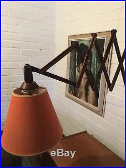 Vintage Danish Teak scissor lamp mid century modern wall orange shade retro 1