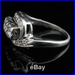 Vintage Diamond 14k White Gold Cluster 3 Stone Ring Retro Estate Mid Century