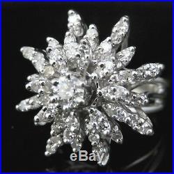 Vintage Diamond 14k White Gold Cluster Cocktail Ring Retro Mid Century Snowflake