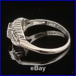 Vintage Diamond 14k White Gold Ring Retro Mid Century Estate Promise Gift