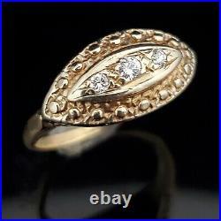 Vintage Diamond 14k Yellow Gold Navette Shaped Ring Retro Gift Mid Century