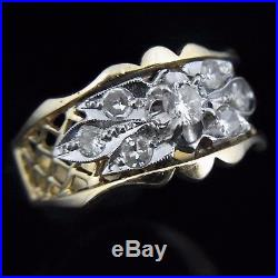 Vintage Diamond 14k Yellow White Gold Ring Band Floral Retro Mid Century c1950s