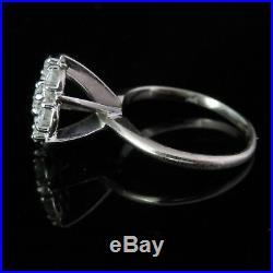 Vintage Diamond Cluster Ring 14k White Gold Estate Retro Mid Century Gift