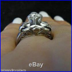 Vintage Diamond Engagement Ring 10k White Gold Promise Retro Mid Century Estate