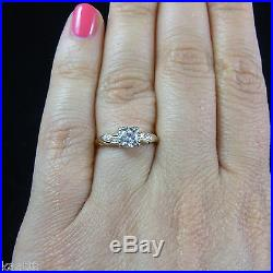 Vintage Diamond Engagement Ring 14k Gold Estate Mid Century Retro Promise c1950s