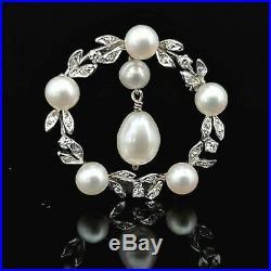 Vintage Diamond Pearl 14k White Gold Brooch Pin Pendant Wreath Retro Mid Century