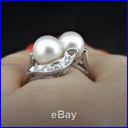 Vintage Diamond Pearl 14k White Gold Toi At Moi Ring Estate Retro Mid Century