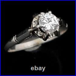 Vintage Diamond Platinum Engagement Ring Solitaire Estate Mid Century Gift Retro