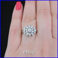 Vintage Diamond Ring 14k White Gold Cocktail Retro Estate Jewelry Mid Century