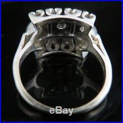 Vintage Diamond Ring 14k White Gold Cocktail Retro Estate Mid Century Jewelry