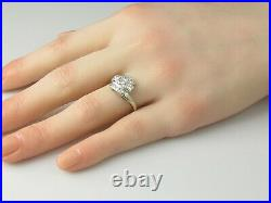 Vintage Diamond Ring Retro Period Mid Century 14K White Gold 1/2ctw Bypass