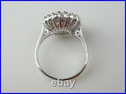 Vintage Diamond Ring Retro Period Mid Century Cocktail Cluster 14K White Gold