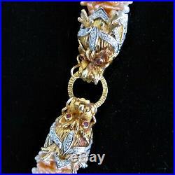 Vintage Dragon Diamond Ruby Pearl 14k Gold Necklace Estate Retro Mid Century