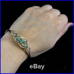 Vintage Emerald Diamond Bracelet Floral 14k Yellow Gold Retro Estate Mid Century