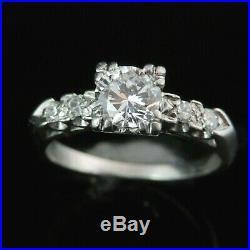 Vintage Engagement Ring Platinum Engagement Ring Retro Mid Century Estate Gift