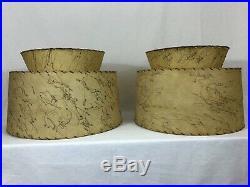 Vintage Fiberglass Lamp Shades Pair 2 Tier Mid Century Retro Rockabilly 1950s