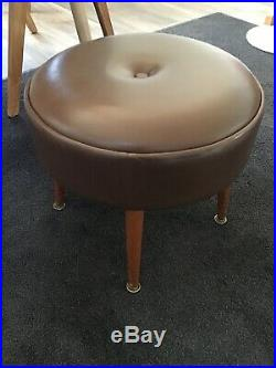 Vintage Footstool Pouffe Dansette Legs Faux Leather 1950s Mid Century Retro