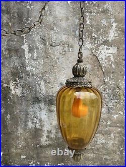 Vintage Funky Retro Hanging Swag Light/Lamp Amber Glass Mid Century Design