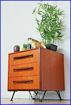 Vintage G Plan Fresco Bedside Cabinet chest of Drawers Mid century Hairpin Legs