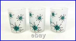 Vintage Gay Fad Starburst Atomic Blue Frosted Juice Glasses (3)Retro Mid Century