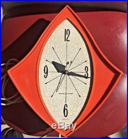 Vintage General Electric Wall Clock Model 2159 Retro Orange Mid Century