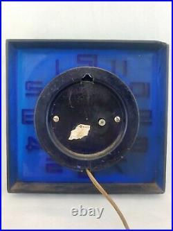 Vintage General Electric Wall Clock Retro Mid Century Modern Cobalt Blue White #