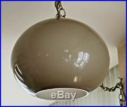 Vintage Glass Globe Hanging Swag Light Mid-Century Chain Retro