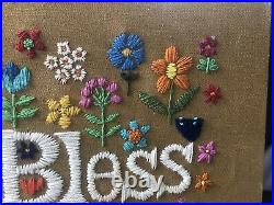 Vintage God Bless Our Pad Wall Art 1970s Crewel Mid-Century Retro Hippie Kitsch