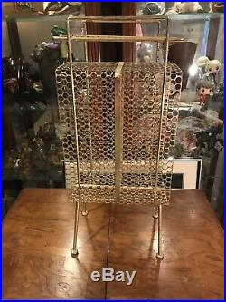 Vintage Gold Plant Stand Shelf End Table Metal Wire Mid Century Retro Atomic MCM