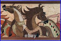 Vintage Gravel Pebble Art, Roman Chariot & Horses, Handmade Mid-Century