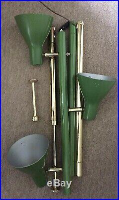 Vintage Green Mid Century 3-Shade Tension Pole Lamp MCM RETRO