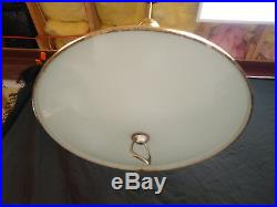 Vintage Hanging Brass & Glass Saucer Lamp Light MID Century Chandelier Retro 18