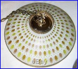 Vintage Hanging Glass Swag Saucer Lamp Light MID Century Modern Chandelier Retro