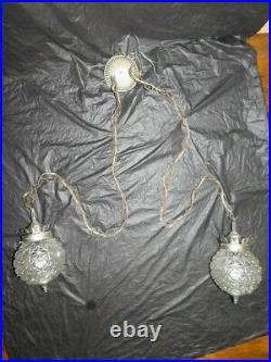 Vintage Hollywood Regency double swag lamp plug in light mid century MCM retro