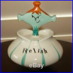 Vintage Holt Howard Relish Pixie Condiment with Spoon Pixieware